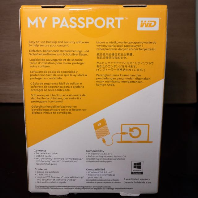 WD My Passport 2017 1TB USB 3 0 (Black) Portable Hard Drive