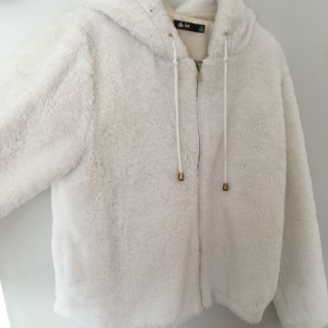 White fluffy jacket size 12