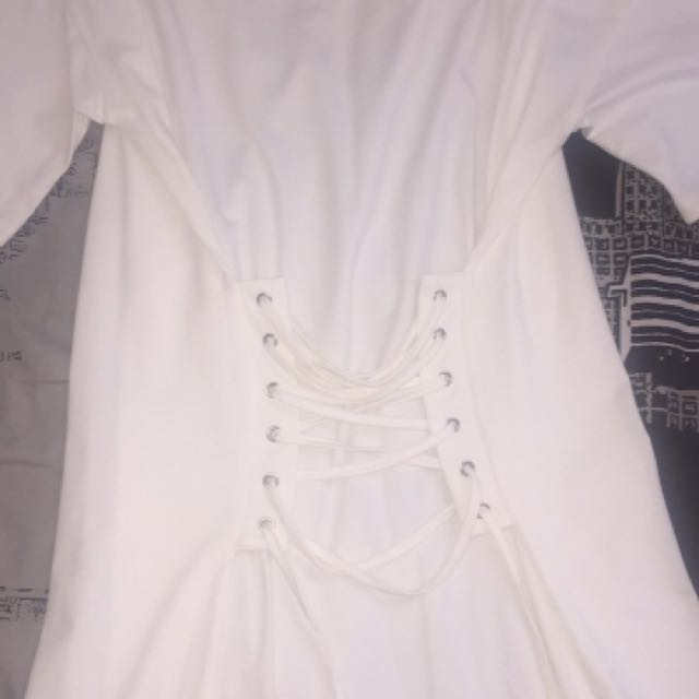 White tshirt dress with waist ties