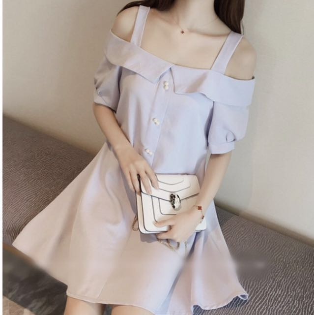 🌷YESSTYLE Short-sleeve off the shoulder dress