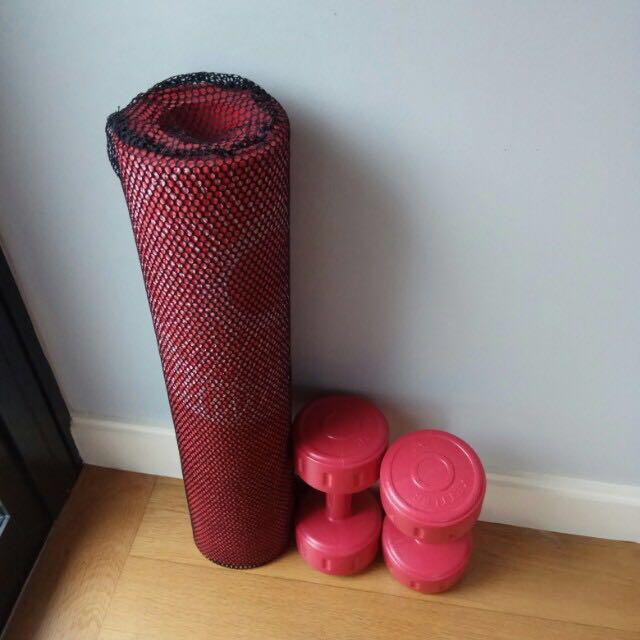 Yoga mat + dumbbells 2Kg each Gym tools