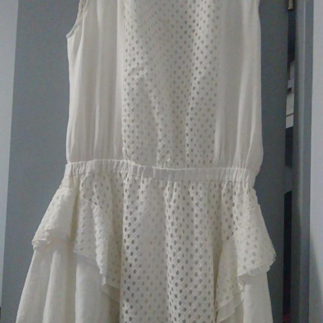 Zalora white detailed dress