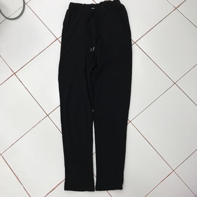 Zara Black Cotton Long Pants