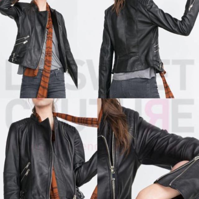 Zara real leather jacket