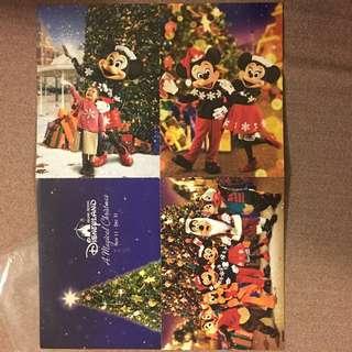 香港迪士尼樂園聖誕明信片一套四張