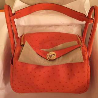 Brand new Hermes ostrich leather orange Lindy 26