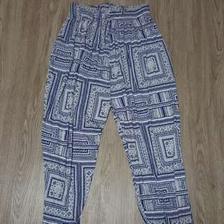 Blue&white Casual Long Pants