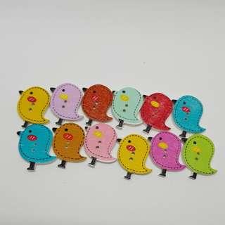 12.12 sale Buttons Wooden Assorted Birds 12 pcs