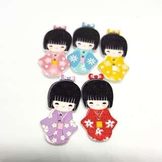 12.12 sale Buttons Wooden Jap Doll 5pcs