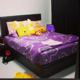 PL Queen Size Black Storage bed frame
