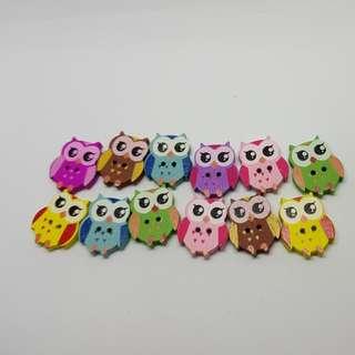 12.12 sale Buttons Wooden Owls