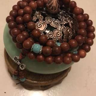 108 8mm 猫眼紫檀 Cat Eye Rosewood with turquoise Mala Beads Meditation Beads
