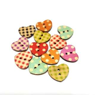 12.12 sale buttons wooden assorted hearts 12 pcs