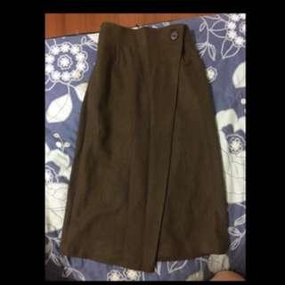 轉賣 正 韓 Nude doe soulsis dogoose 前片 一片 不規則 及膝 裙 高腰 長裙 鉛筆裙 墨綠