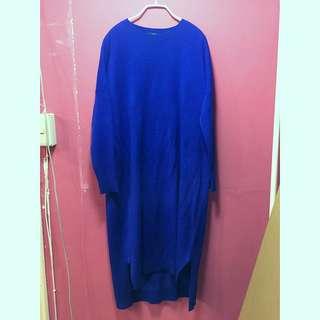 Lovfee寶藍長版針織洋