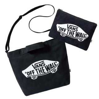 Vans - Black Sling Bag with Handle and Pouch Two Piece Set