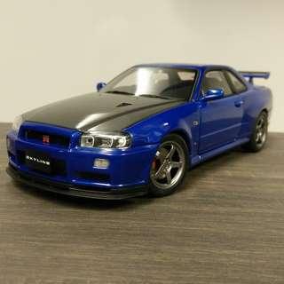 1/18 Autoart Nissan Skyline R34 GT-R V-Spec2 Wif CF Bonnet & Gunmetal LMGT4 Rims (Blue)