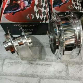 Rxz chrome hub from and back hubs rear