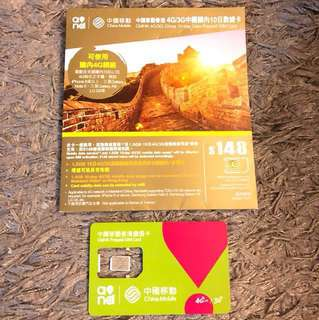中國移動中國大陸4G數據卡1.4GB