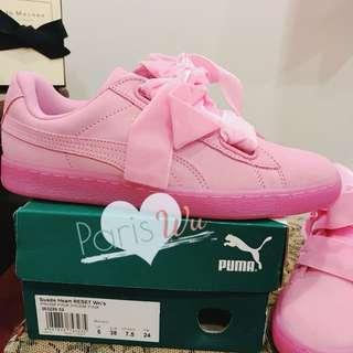全新Puma Basket Heart🎀馬卡龍色-櫻花粉🎀寬鞋帶運動鞋