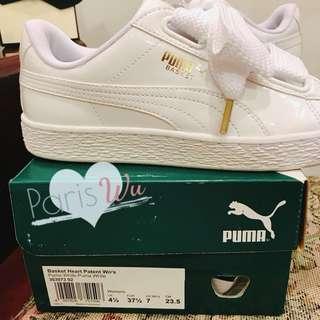Puma Basket Heart 白色亮面寬緞帶蝴蝶結運動鞋