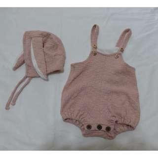 女童包屁衣+帽子 73碼 連身衣 衣服 新生兒 爬服 嬰幼兒 童裝