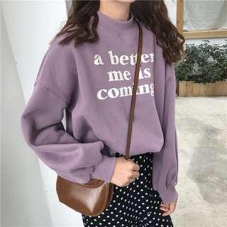 限定優惠|百搭寬鬆套頭印花字母加絨加厚學生燈籠袖衛衣上衣 2018Pantone