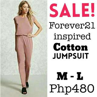 🎄 New! Sale Price!  🎁 Great Gift Idea   🔖Php480 only!  FOREVER21 INSPIRED COTTON JUMPSUIT  📍Freesize: Fits Medium to Large frame  📍Available in 2 colors: Peach Pink & Black  📍Pre-order