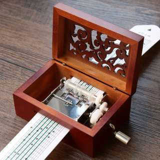 Choose your own songs!!  Music Box  15 Note Wooden Hollow Hand Cranked DIY