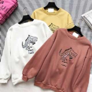 韓系恐龍刺繡圓領刷毛衛衣