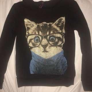 Nerdy Cat Sweater with Fleece