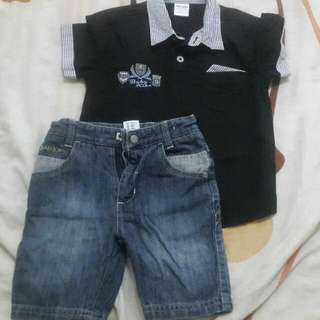 Baby Kiko Short Pants & Shirt 1-2y