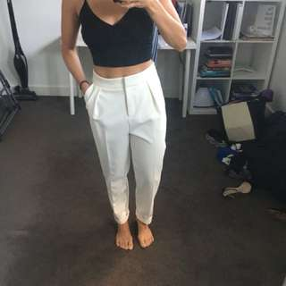 Topshop high waisted white tailored pants. Size 8