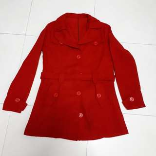 Red Trench Coat / Wool Jacket