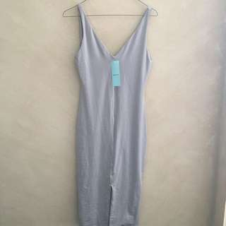 NEW Kookai Grey Mauve Bodycon Dress with Front Slit
