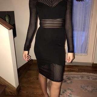 One of a king stunning black new mesh dress size small