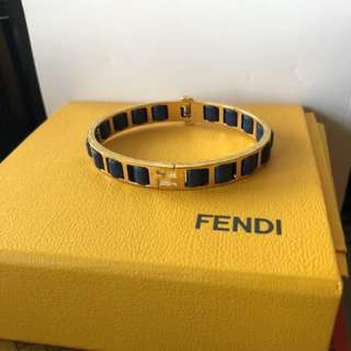 FENDI gold bangle with blue leather