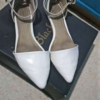 Topshop white pointed strap flat shoes