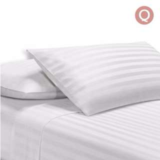 4 Piece Cotton Bed Sheet Set Queen White SKU: SHEET-CT-STRIP-Q-WH