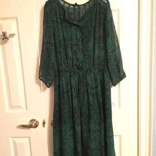 Aritzia-babaton xs green snake skin silk dress