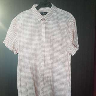 Baleno Pink Checkered Buttondown Shortsleeves