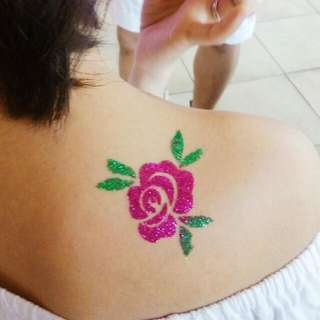 Shimmering Glitter tattoo, Face Painting, Balloon decoration, Paper Flowers For Birthdays and Other Events.