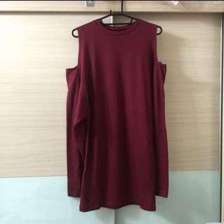 [特價]全新酒紅色挖肩長上衣