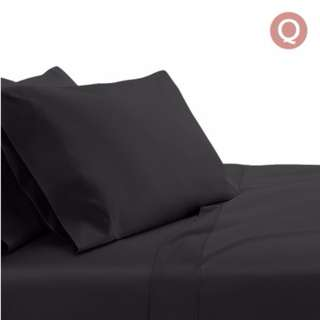 4 Piece Cotton Bed Sheet Set Queen Black SKU: SHEET-CT-SOLID-Q-BK