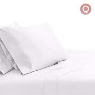 4 Piece Cotton Bed Sheet Set Queen White SKU: SHEET-CT-SOLID-Q-WH