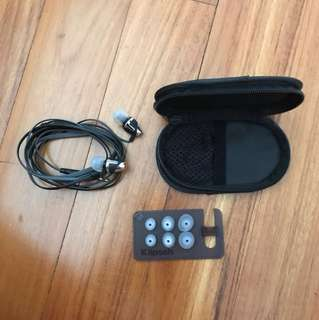 Brand new and unused Klipsch Earphones with pouch and ear pads (full set)