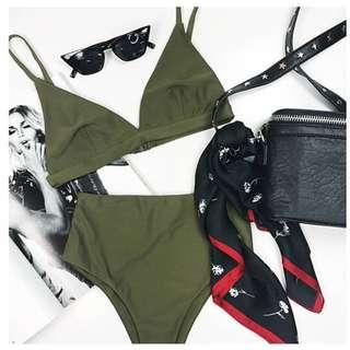 Reverse Khaki Triangle Top High Waist Bottom Bikini Size 6