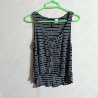 H&M Divided Gray and Black Stripes Striped Sleeveless Tank Top Button Down