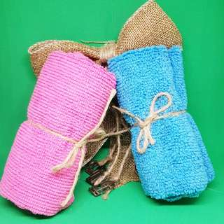 Microfiber towel with twine (hemp string)