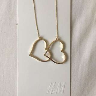 H&M heart shaped gold earrings